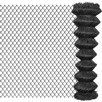 vidaXL Chain Link Fence Steel 25x1.5 m Grey