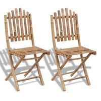 vidaXL Folding Garden Chairs 2 pcs Bamboo