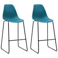 vidaXL Bar Chairs 2 pcs Turqoise Plastic