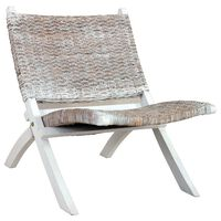 vidaXL Relaxing Chair White Natural Kubu Rattan and Solid Mahogany Wood
