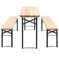 vidaXL Folding Beer Table with 2 Benches 177 cm Pinewood