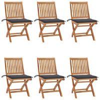 vidaXL Folding Garden Chairs with Cushions 6 pcs Solid Teak Wood