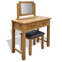 vidaXL Dressing Table with Stool Solid Oak Wood