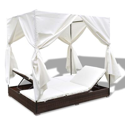 vidaXL Outdoor Lounge Bed with Curtains Poly Rattan Brown
