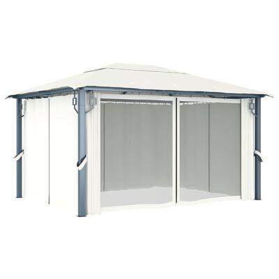 vidaXL Gazebo with Curtain 400x300 cm Cream Aluminium