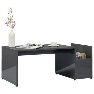 vidaXL Coffee Table High Gloss Grey 90x45x35 cm Chipboard