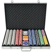 vidaXL Poker Set with 1000 Laser Chips Aluminium