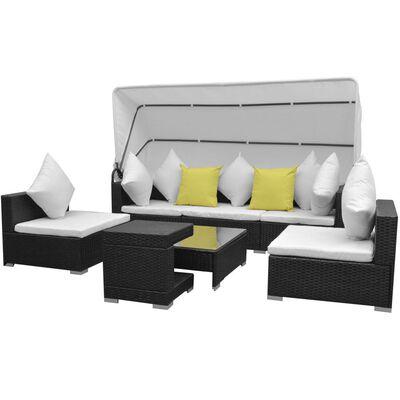 vidaXL 7 Piece Garden Lounge Set with Canopy Poly Rattan Black