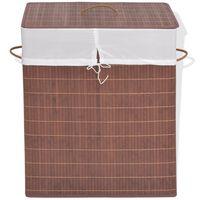 vidaXL Bamboo Laundry Bin Rectangular Brown