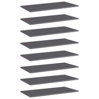 vidaXL Bookshelf Boards 8 pcs High Gloss Grey 80x40x1.5 cm Chipboard
