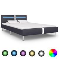 vidaXL Bed Frame with LED Black Faux Leather King Single