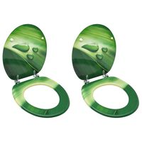 vidaXL WC Toilet Seats with Lid 2 pcs MDF Green Water Drop Design