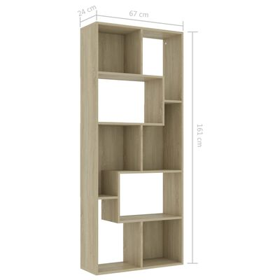 vidaXL Book Cabinet Sonoma Oak 67x24x161 cm Chipboard