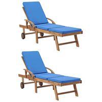 vidaXL Sun Loungers with Cushions 2 pcs Solid Teak Wood Blue
