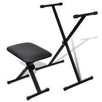 vidaXL Adjustable Keyboard Stand and Stool Set