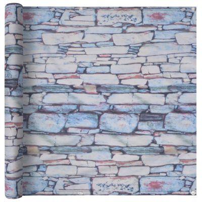 vidaXL Balcony Screen Oxford Fabric 75x600 cm Stone Wall Print
