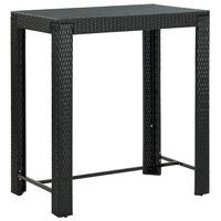 vidaXL Garden Bar Table Black 100x60.5x110.5 cm Poly Rattan