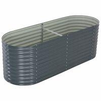 vidaXL Garden Raised Bed 240x80x81 cm Galvanised Steel Grey