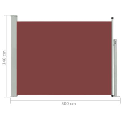 vidaXL Patio Retractable Side Awning 140x500 cm Brown
