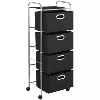 vidaXL Shelving Unit with 4 Storage Boxes Steel and Non-woven Fabric
