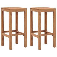 vidaXL Bar Stools 2 pcs Solid Teak Wood