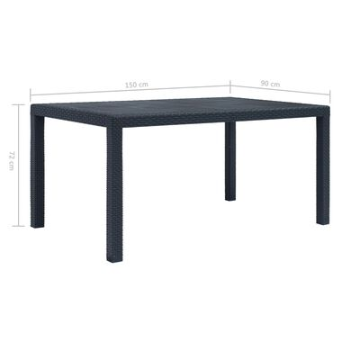 vidaXL Garden Table Anthracite 150x90x72 cm Plastic Rattan Look