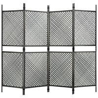 vidaXL 4-Panel Room Divider Poly Rattan Anthracite 240x200 cm