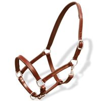 vidaXL Real Leather Headcollar Stable Halter Adjustable Brown Full