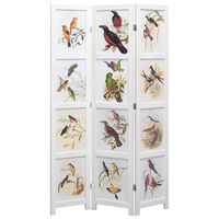 vidaXL 5-Panel Room Divider White 175x165 cm Bird