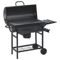 vidaXL Barrel Grill with Wheels and Shelves Black Steel 115x85x95 cm
