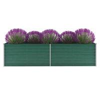 vidaXL Garden Raised Bed Galvanised Steel 320x80x77 cm Green