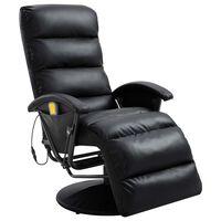 vidaXL TV Massage Recliner Black Faux Leather