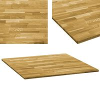 vidaXL Table Top Solid Oak Wood Square 23 mm 80x80 cm