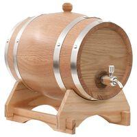 vidaXL Wine Barrel with Tap Solid Oak Wood 6 L