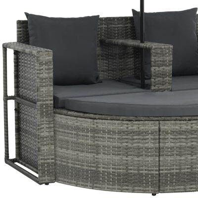 vidaXL 2 Seater Garden Sofa with Cushions and Parasol Grey Poly Rattan