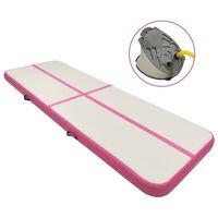 vidaXL Inflatable Gymnastics Mat with Pump 300x100x20 cm PVC Pink