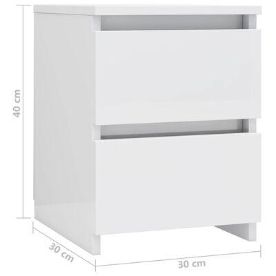 vidaXL Bedside Cabinets 2 pcs High Gloss White 30x30x40 cm Chipboard