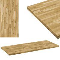 vidaXL Table Top Solid Oak Wood Rectangular 44 mm 100x60 cm