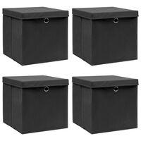 vidaXL Storage Boxes with Lids 4 pcs Black 32x32x32 cm Fabric