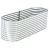 vidaXL Garden Raised Bed 240x80x81 cm Galvanised Steel Silver