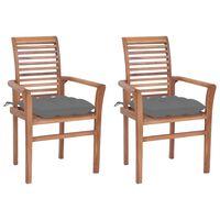 vidaXL Dining Chairs 2 pcs with Grey Cushions Solid Teak Wood