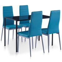 vidaXL Five Piece Dining Set Blue