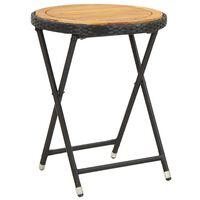 vidaXL Tea Table Black 60 cm Poly Rattan and Solid Acacia Wood