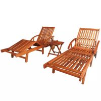 vidaXL Sun Loungers 2 pcs with Table Solid Acacia Wood