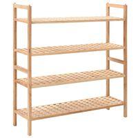 vidaXL Shoe Rack Solid Walnut Wood 69x26x81 cm