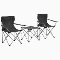 vidaXL Camping Table and Chair Set 3 Pieces Grey