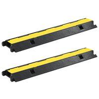 vidaXL Cable Protector Ramps 2 pcs 1 Channel Rubber 100 cm,