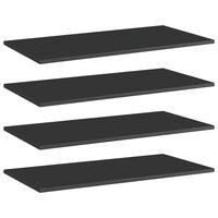 vidaXL Bookshelf Boards 4 pcs High Gloss Black 80x40x1.5 cm Chipboard
