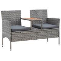 vidaXL 2-Seater Garden Bench with Tea Table 143 cm Poly Rattan Grey