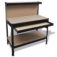 Workbench with Pegboard and Drawer